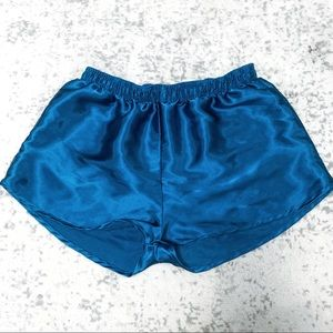 Pants - Blue Satin Shorts Sleep Pyjama